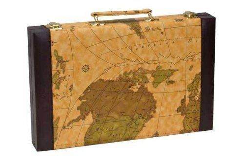 CHH Imports 15 Inch Backgammon Set In Brown Vinyl Map Design (15 Backgammon Set)