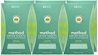 Method Dryer Sheets, Fresh Air, 80 Sheets, 6 Count