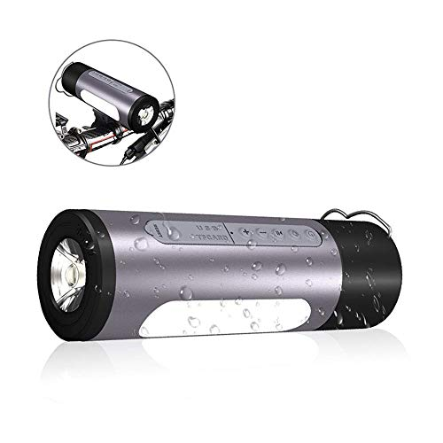 Outdoor Speakers Portable Bluetooth Bicycle Bike Speaker 5200mAh Power Bank Waterproof Speakers with Camp LED Flashlight, Built-in Mic, TF Card for Camping/Beach/Sports