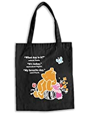 Inspirational Winnie The Pooh Quote Natural Cotton Canvas Reusable Hand Made Tote Bag - What Day Is It Pooh Classic Gift - Cute Winnie The Pooh Theme Tote Bag Gifts for Kids Boys Girls (Black)