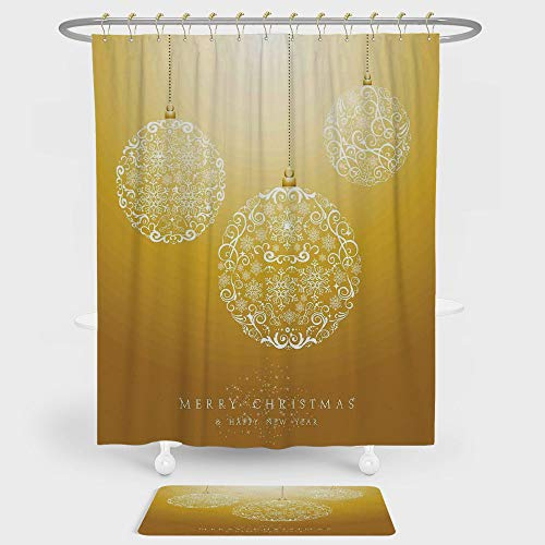 Christmas Shower Curtain And Floor Mat Combination Set Merry Xmas Round Baubles Hanging in the Air Advent Season Feelings Holy Day Print For decoration and daily use Mustard by iPrint