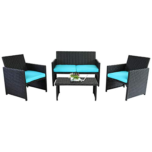 Rattaner 4-Piece Wicker Furniture Set Outdoor Patio Rattan Conversation Sofa & Armchair with Table Turquoise Cushion