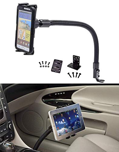 DigiMo 2-in-1 Cell Phone Car Holder or Tablet Car Mount w/Flex Gooseneck and Swivel Cradle for Apple iPad Mini, Apple iPhone 11 11R XS MAX XR 8 7 6, Samsung Galaxy Note 10 9 S10 S9 S8 (5-8') - Black