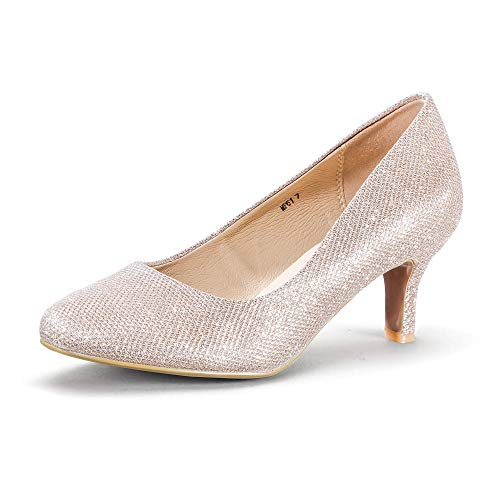 IDIFU Women's RO2 Basic Round Toe Mid Heel Pump Shoes (Gold Glitter, 10 B(M) US)