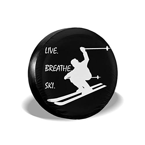 Spare Tire Cover Downhill Crosscountry Skiing Live Breath Ski PVC Leather Waterproof Dust-Proof Rv Wheel Covers For Jeep Liberty Wrangler SUV Travel Trailer (14,15,16,17 Inch)Tire Cover