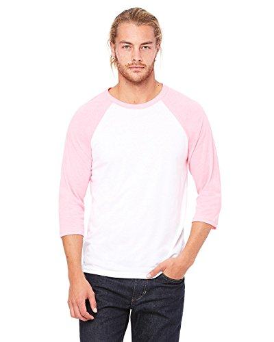 Bella + Canvas Unisex 3/4-Sleeve Baseball T-Shirt, XL, WHITE/NEON PINK