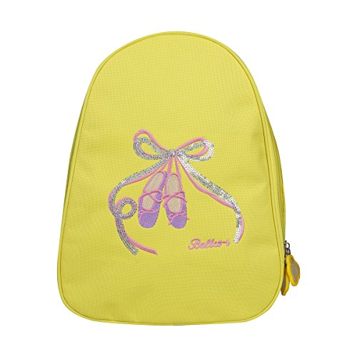 [FEESHOW Girls Kids Ballet Dance Backpack Shoes Embroidered School Shoulder Bag (Yellow)] (Best Swimming Costumes For Training)