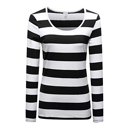 OThread & Co. Women's Long Sleeve Striped T-Shirt Scoop Neck Stretchy Cotton Tee (Small, Black&White)