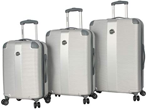 Lucas Luggage 3 Piece Rolling Suitcase Set Hard Case With Spinner Wheels 20 27 31 One Size, Tread Silver