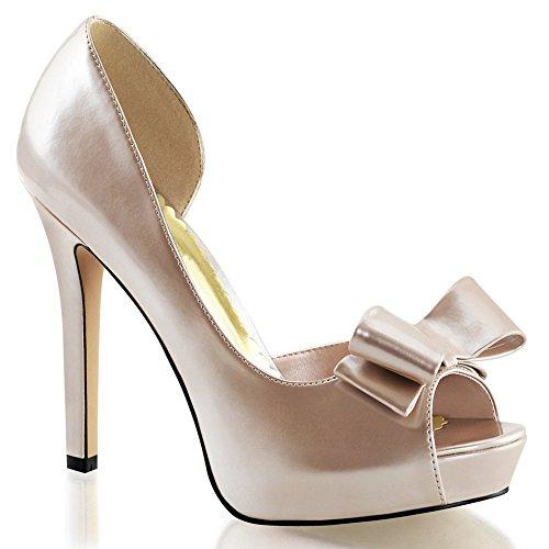 Fabulicious 4 3/4 Talon, 1 Pf Peep Toe Dorsay W / Bow Chaussures Femmes Chaussures Champagne Pat