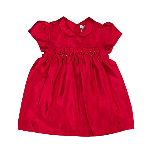 (Carriage Boutique Baby Girl's Hand Smocked Holiday & Party Dress - Red Faux Raw Silk w/Back Bow and Gold Detail, 6M)
