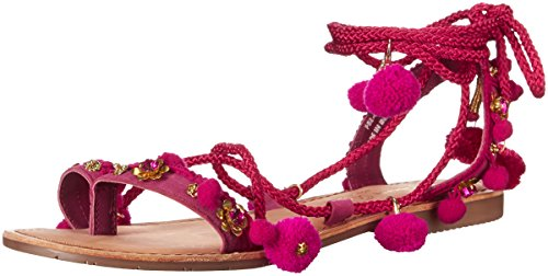 Chinese Laundry Women's Portia Toe Ring Pom Pom Sandal, Pink Suede,  8 M US