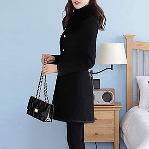 Mode Femme Manteau À Casual Chaud Pardessus Noir1 La Hiver Slim Pas Femmes Long Chaude Laine Cher Coat Parka Fourrure Collier Cardigan Vestes En P550wHxq
