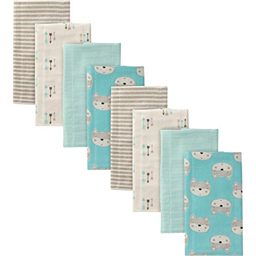 Gerber Baby Boys' 8-Pack Flannel Burp Cloth, Fox, 20