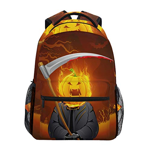 CANCAKA Burning Halloween Grim With Pumpkin Head Lightweight School Backpack Students College Bag Travel Hiking Camping Bags ()