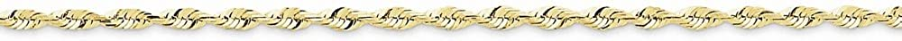 10k Yellow Gold 2.25mm Diamond Cut Extra-Lite Rope Chain Anklet 9 Inch
