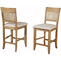 Alpine Furniture Aspen Pub Chair - Iron Brush Antique Natural - Set of 2