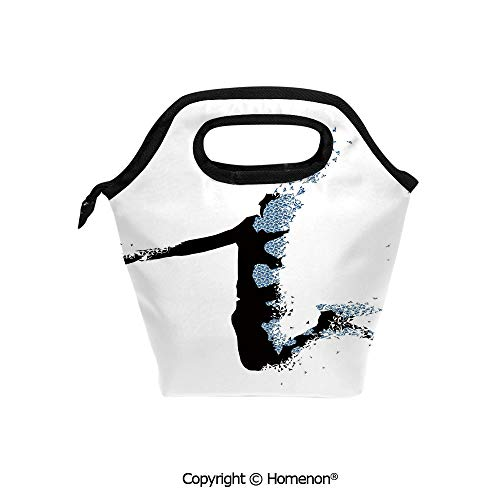 Insulated Neoprene Soft Lunch Bag Tote Handbag lunchbox,3d prited with Modern Stylized Basketball Player in Fractal Pattern Artistic,For School work Office Kids Lunch Box & Food Container