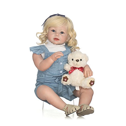 HAPPY NPK 28 inches 70cm Realistic Reborn Baby Doll Long Hair Girl Newborn Babies Silicone Vinyl Toy Kids Children's Birthday Gift Age 3+ (2)]()