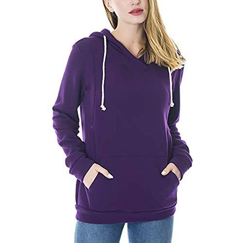 HYIRI Women's Nursing Hoodie Solid Tops Breastfeeding Hoodie Sweatshirt -