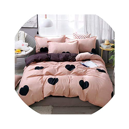 Home Textile Comforter Cover Pillowcase Flat Sheet Girl Teen Woman Bedding Set Bull Dog Pink Bed Linen Bedclothes,18,Twin 4Pcs Big Sheet,Flat Bed Sheet (18 Doll Bed Linens)
