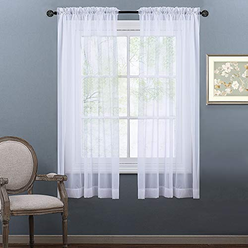 NICETOWN White 60 inches Width, 45 inches Length, Small Window Soft Sheer Curtains Rod Pocket Design for Office & Nursery Room, Set of 2 (Curtains Sheer Inch 45)