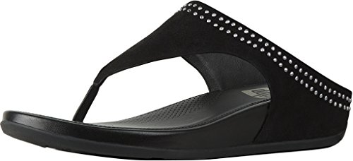 (FitFlop Womens Banda Suede Wedge Thong Sandals Black 7 Medium)