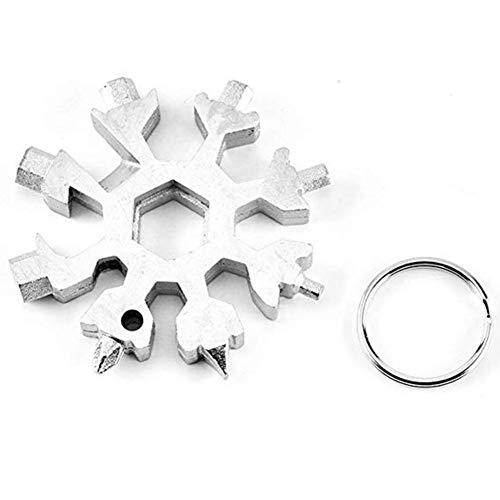 debieborahtoys 18 in 1 Snowflake Survival Multi-Tool، ابزار بازکننده بطری Keychain چند منظوره برای کمپینگ در فضای باز (نقره)