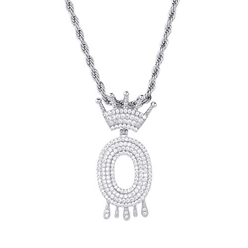 HECHUANG Micropave Simulated Diamond Iced Out Crowned Initial Dripping Letters Pendant with Rope Chain (Silver O, 24) ()