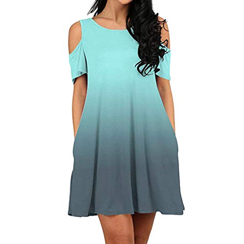 Gradient Dresses for Women,Londony❤ Cold Shoulder Loose Dress Summer Beach Sexy Lace Trim Mini Dress Flowy Swing Dress -