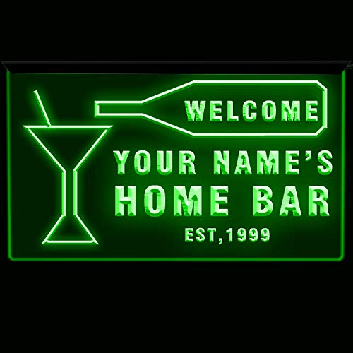 (EAST-BIRD Text Personalized Home Bar Sign Neon Bar Decor 3D Engraving Blue/Green/White/Red (DGreen, 12