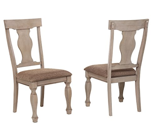 (Kings Brand Almon 2 Tone Brown Wood Upholstered Dinette Dining Room Chairs, Set of 2)