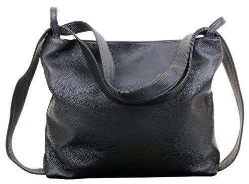 Primo Sacchi Ladies Italian Black Leather Shoulderbag Handbag Backpack by Primo Sacchi