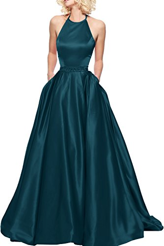 Einfach Tinte Brautjungfernkleider Braut Marie Bodenlang Blau Ballkleider Hundkragen La Rot Damenmode Abendkleider Satin RUx8P4w