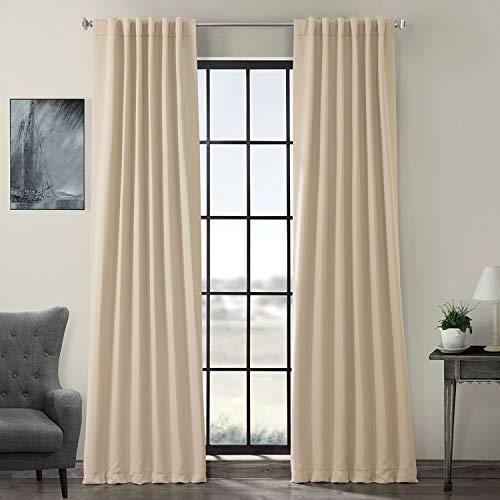 HPD HALF PRICE DRAPES BOCH-120601-96 Blackout Room Darkening Curtain, 50 x 96, Eggnog - Hanging Pinch Pleat Curtains