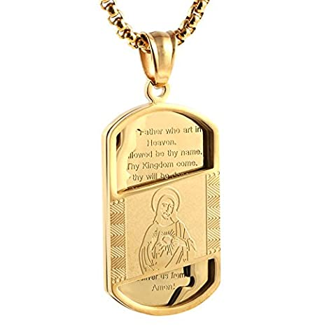 HZMAN Gold Stainless Steel Sacred Heart of Jesus figure and Lord's Prayer Dog Tag Pendant Necklace - Gold Heart Medal