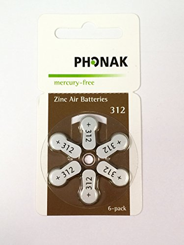 Phonak Mercury Free Size 312 Zinc Air Hearing Aid Batteries for sale  Delivered anywhere in USA