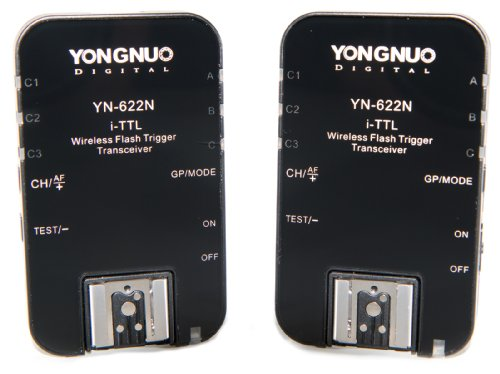 Yongnuo YN-622N-USA i-TTL 2.4-GHz Wireless Flash Trigger Transceiver Pair for Nikon DSLRs, US Warranty (Black) ()