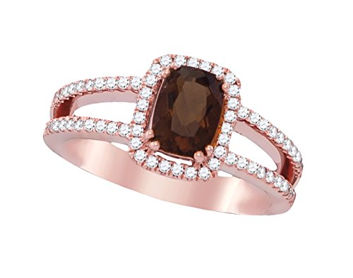 14k Rose Gold Brandy Smoky Quartz Diamond Chocolate Brown Oval Halo Open Shank Ring 1-1/20 Ctw. - Shank Open Ring