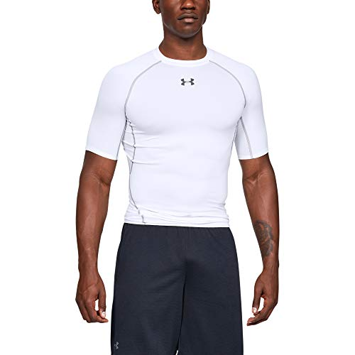 Under Armour Men's HeatGear Armour Short Sleeve Compression T-Shirt, White (100)/Graphite, Large (Under Armour Heatgear Short Sleeve T Shirt Mens)