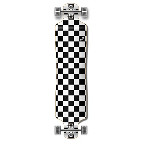 Yocaher Blank/Checker Complete Lowrider Skateboards Longboard Cruiser Black Widow Premium 80A Grip Tape Aluminum Truck ABEC7 Bearing 70mm Skateboard Wheels (Complete - Lowrider - 13 - Checker Silver) (Best Drop Through Trucks)