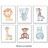 ideas for decorating a bedroom Baby Safari Animals Prints for Nursery - Set of 6 8x10 Poster Pictures of Lion, Elephant, Zebra, Giraffe, Monkey & Hippo - Unframed Wall Art for Baby's Room - Great Wall Art Decor Gift for Baby Shower