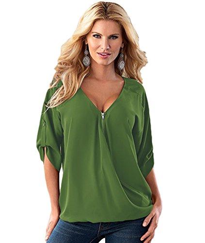 NiSeng Donna Estate Casual Chiffon Tinta Unita Deep V-Collo Allentata T Shirt Plus Size Mezza Manica Magliette Cerniera Camicie Tops Esercito Verde M