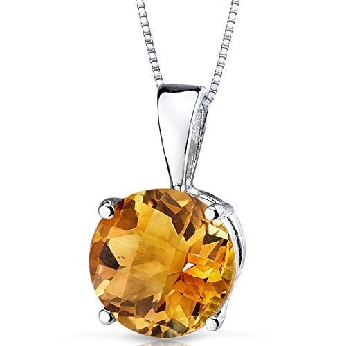- 14 Karat White Gold Round Cut 1.75 Carats Citrine Pendant