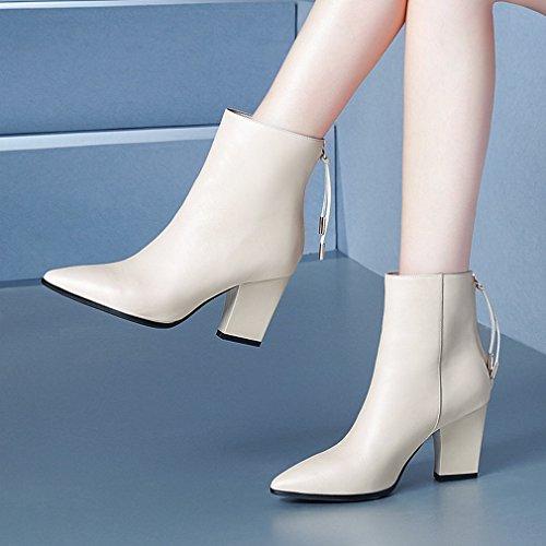 Zapatos Beige Altos Mujer Áspera Tacones Botas Mujer Mujer de Invierno Zapatos Mujer Otoño ZH con de E de xZfT7qYw