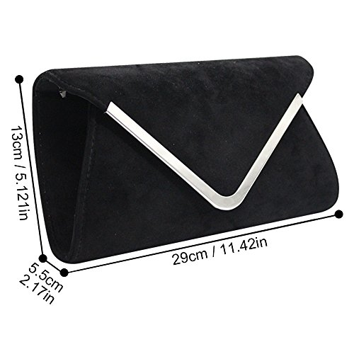 Clutch Wiwsi Black Shoulder Women Messenger Satchel Chain Bag Velvet Pink Purse Crossbody rEwxqZnr4A