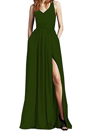 Dreagel Élégantes Robes De Bal Fendus Haute Longue Robe De Soirée En Mousseline De Soie Avec Olive De Poche