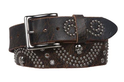1 1/2 Snap On Skull Metal Studded Distressed Leather Belt