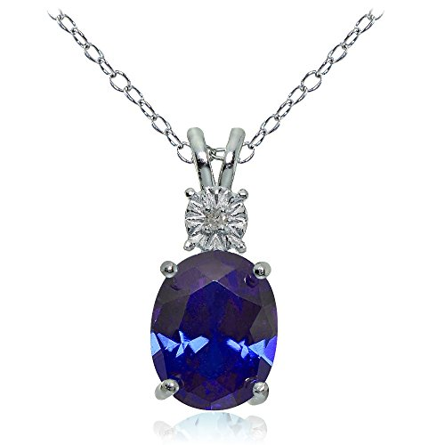 Ice Gems Sterling Silver Created Blue Sapphire Oval Drop Necklace