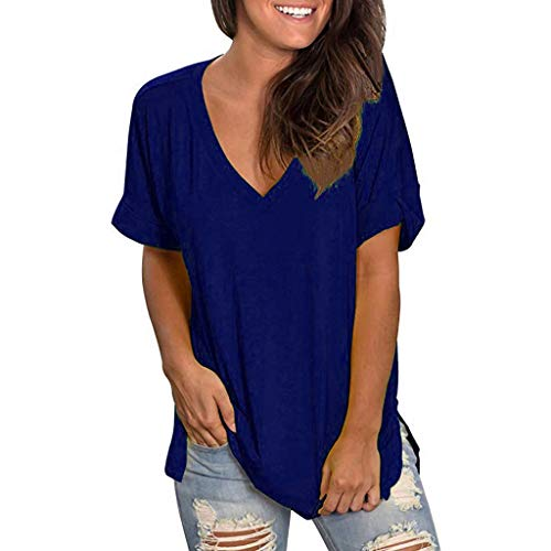 Sunhusing Women's Casual V-Neck Solid Color Short-Sleeve T-Shirt Summer Loose Wild Everyday Home Tunic Tops Blue ()